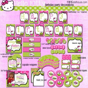 HELLO KITTY PARTY PRINTABLE COLLECTION (LIME) http://mimisdollhouse.com/product/hello-kitty-party-printable-collection-lime/  #HelloKitty #HelloKittyParty #BirthdayParty
