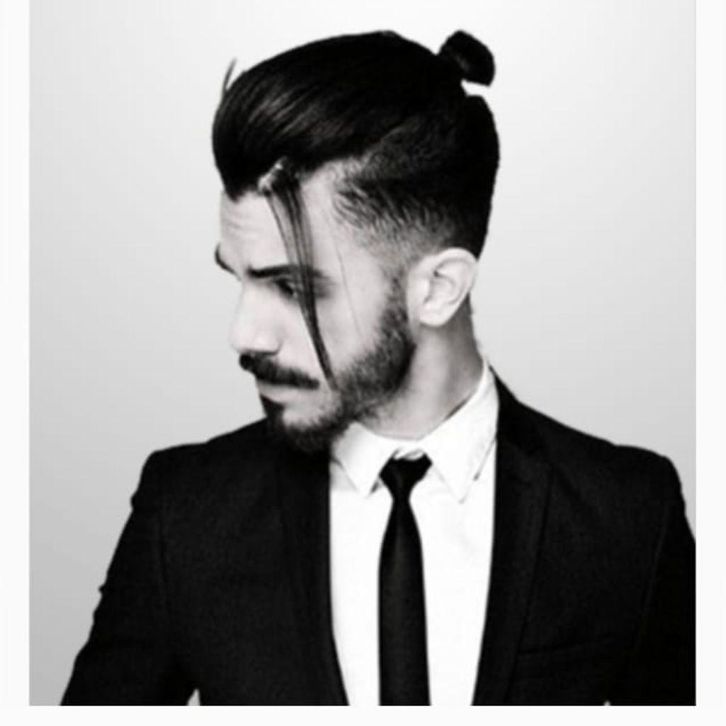 Suite..shooting brand..ravan  Man bun hairstyles, Long hair