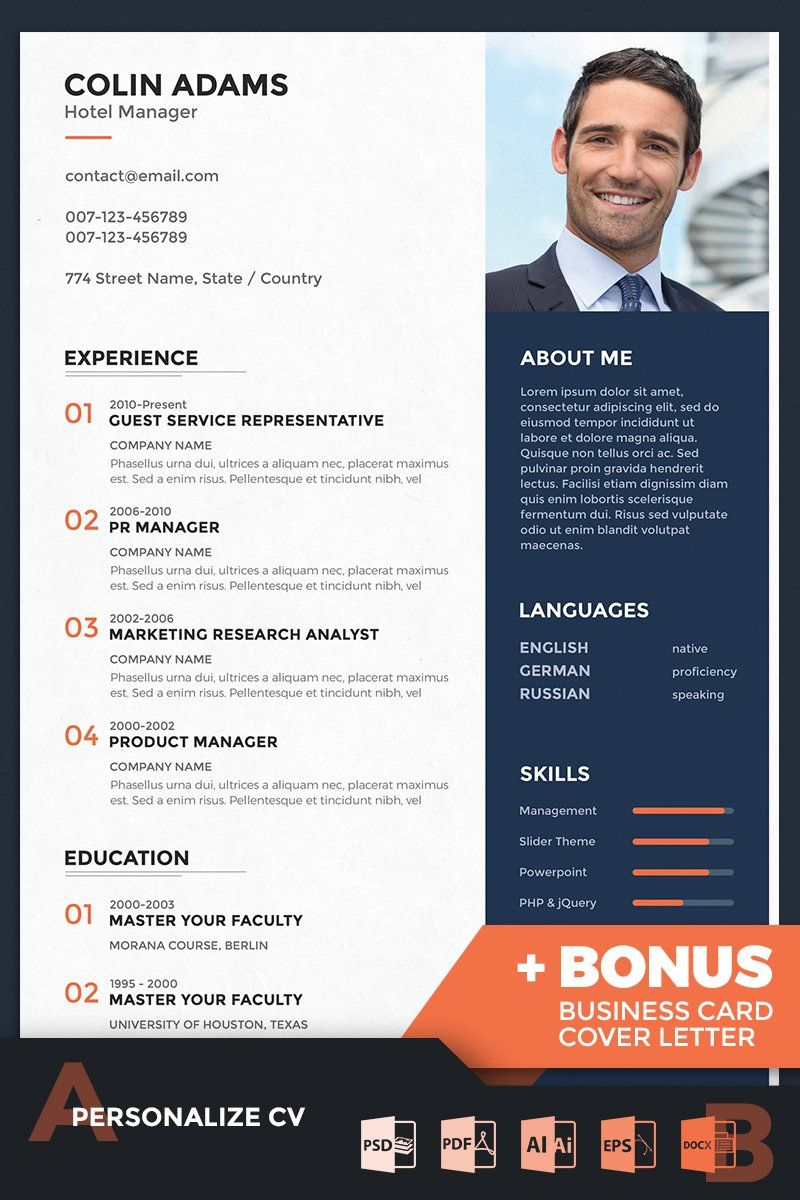 Colin adams hotel manager resume template in 2020
