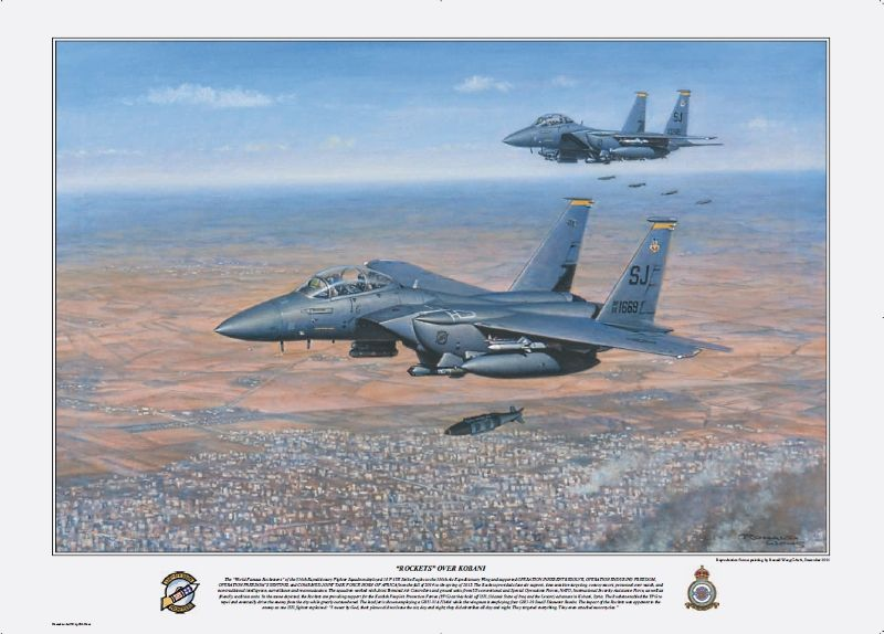 f 15e strike eagles of the 336th fighter squadron 4th fighter wing from seymour johnson air force base flying precision air strikes over kobani syria