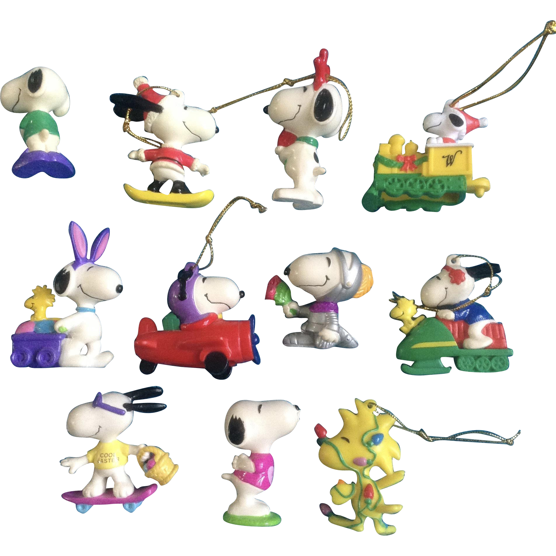 vintage snoopy woodstock peanuts rubber christmas easter ornaments lot of 11