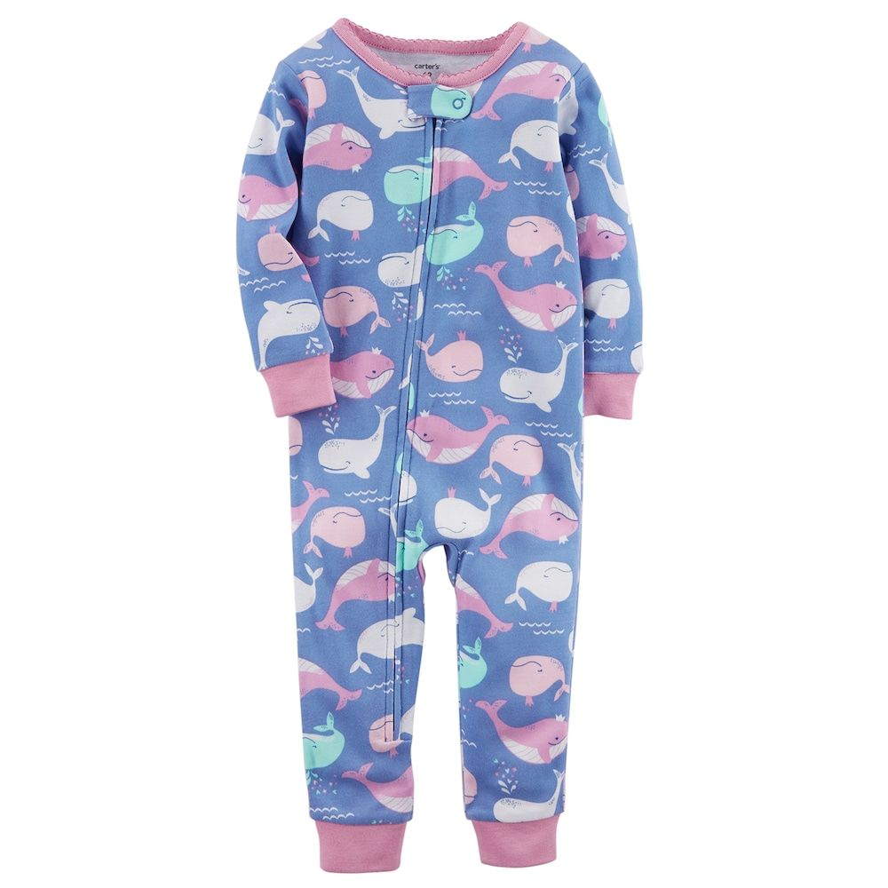 7cc8b30573ab Baby Girl Carter s Whale Print Footless One-Piece Pajamas