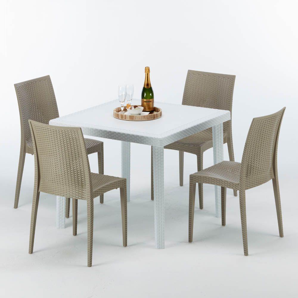 Tavoli E Sedie In Rattan Prezzi.Tavolo Quadrato 4 Sedie Rattan Sintetico Polyrattan Colorate