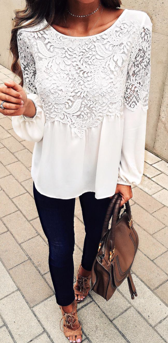 bed75abb3516 fashion Fashion Women Summer Loose Casual Chiffon Long Sleeve Lace T Shirt  Tops Blouse. I love a white lace blouse with jeans.