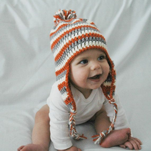 Orange White And Gray Stripes Crochet Baby Hat With Ear