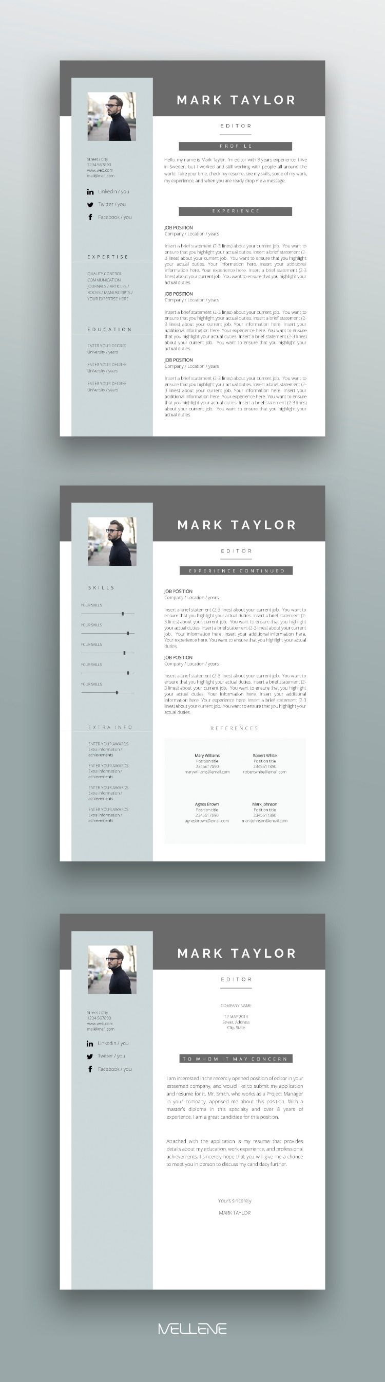 Resume Template 3 page / CV Template Cover Letter