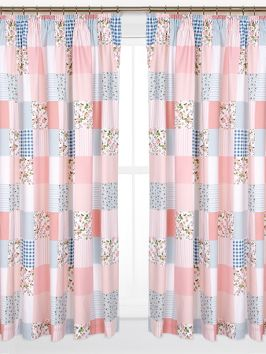 Patchwork Lined 3 inch Header Curtains with Tie-backs