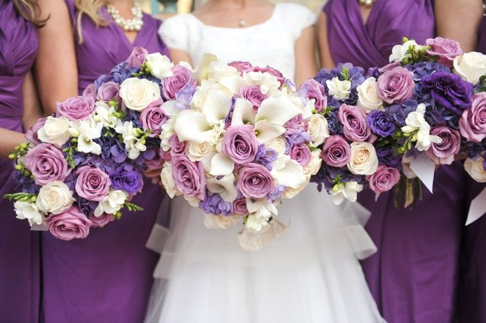 Cream And Purple Wedding Flowers Lds Wedding Bouquets In Cream