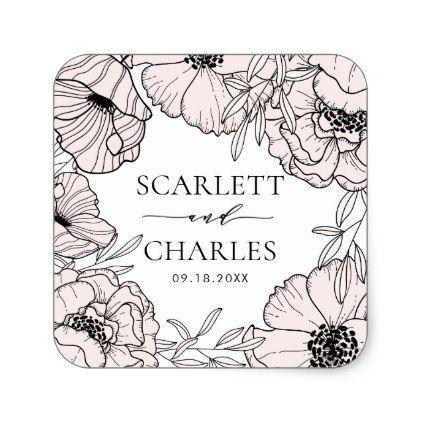 blush pink botanical personalized wedding sticker