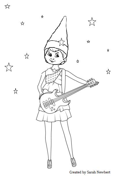 Rock Star Elf Elf Fun Girl Elf Coloring Pages