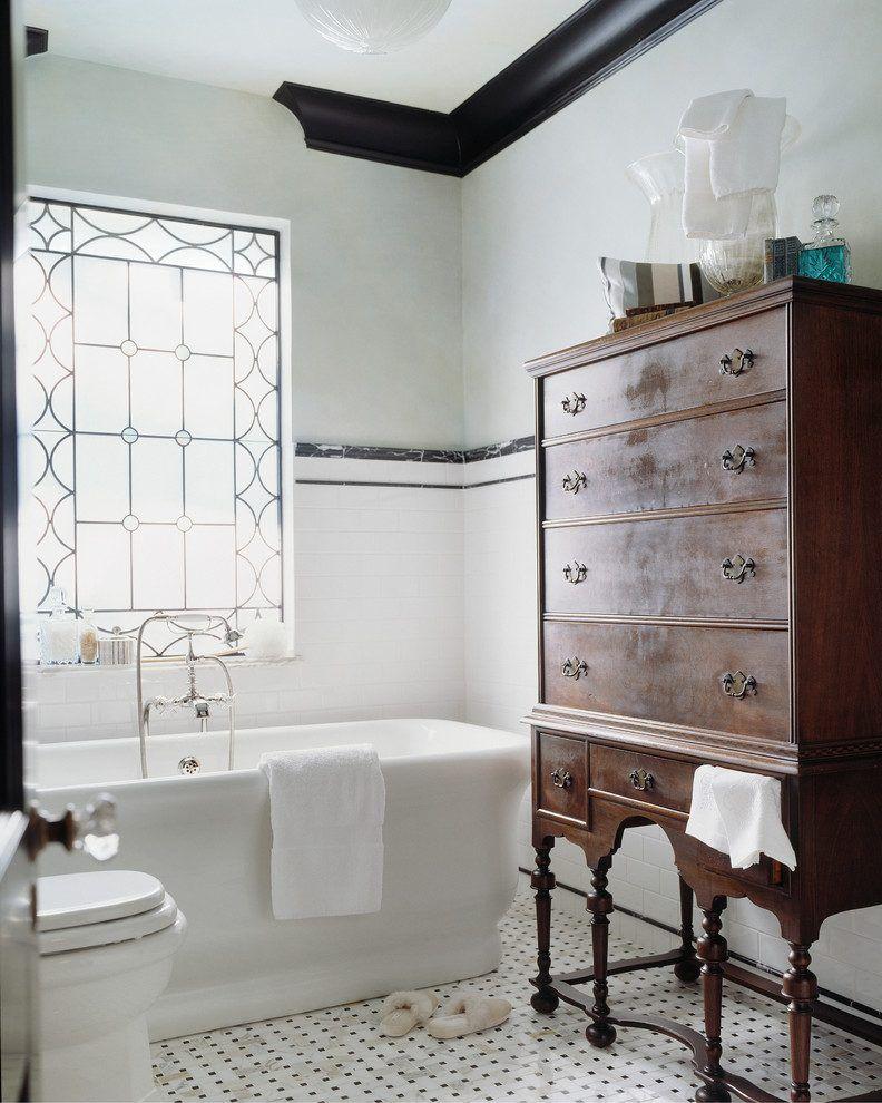 Black Crown Molding Bathroom Victorian With Window Foot