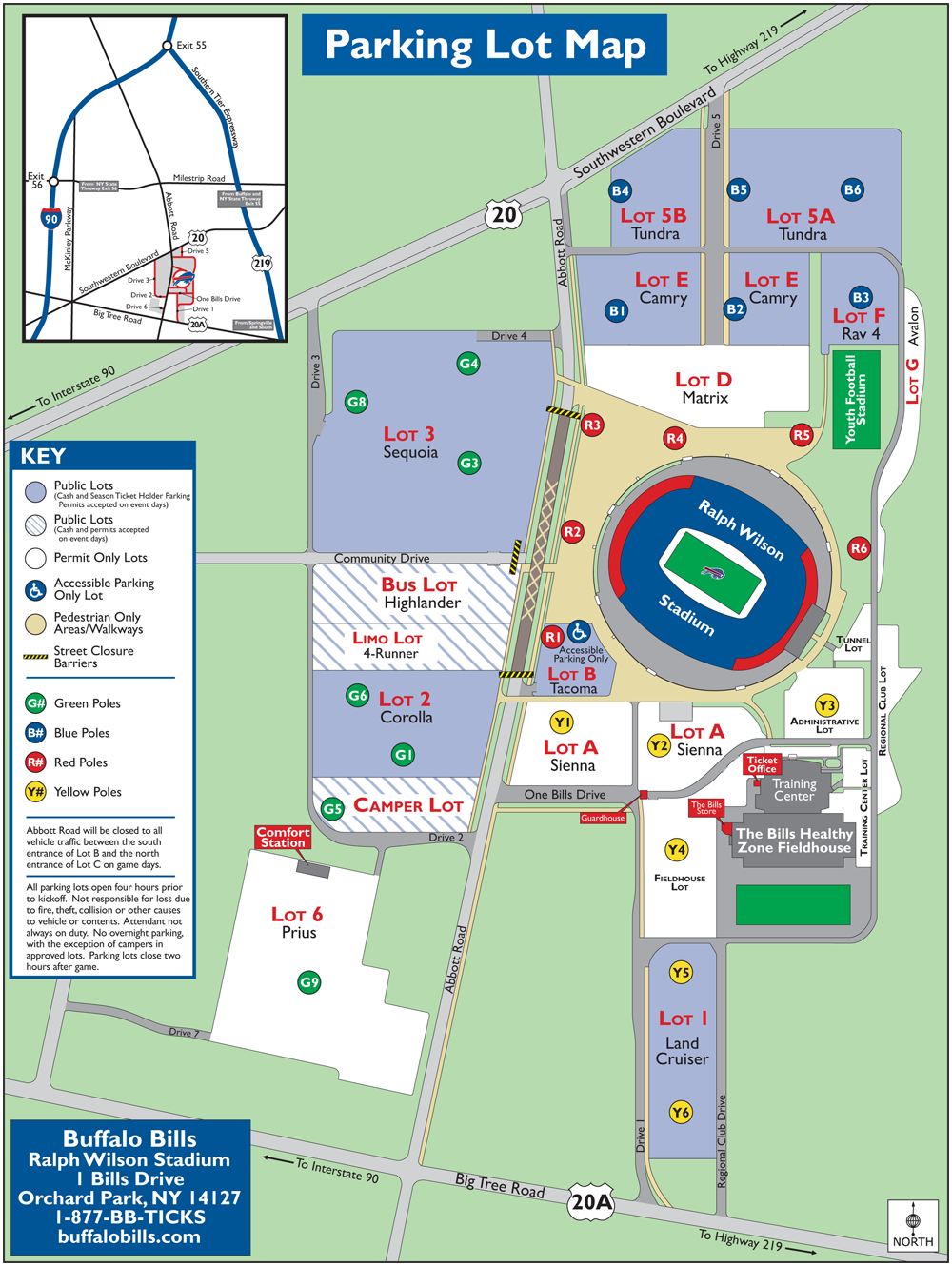 Stadium Maps | Buffalo Bills, Ralph Wilson Stadium, 1 Bills Drive ...