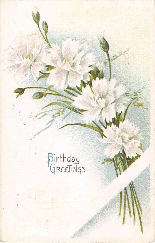 Lovely White Carnations on 1915 Birthday Postcard