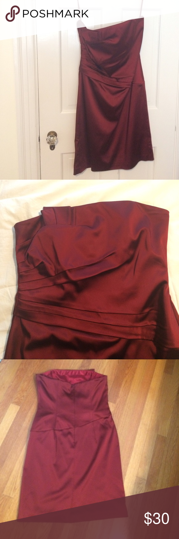 White House Black Market size 12 strapless dress Satin strapless dress in wine from White House Black Market- beautiful for fall wedding or winter event. White House Black Market Dresses Strapless