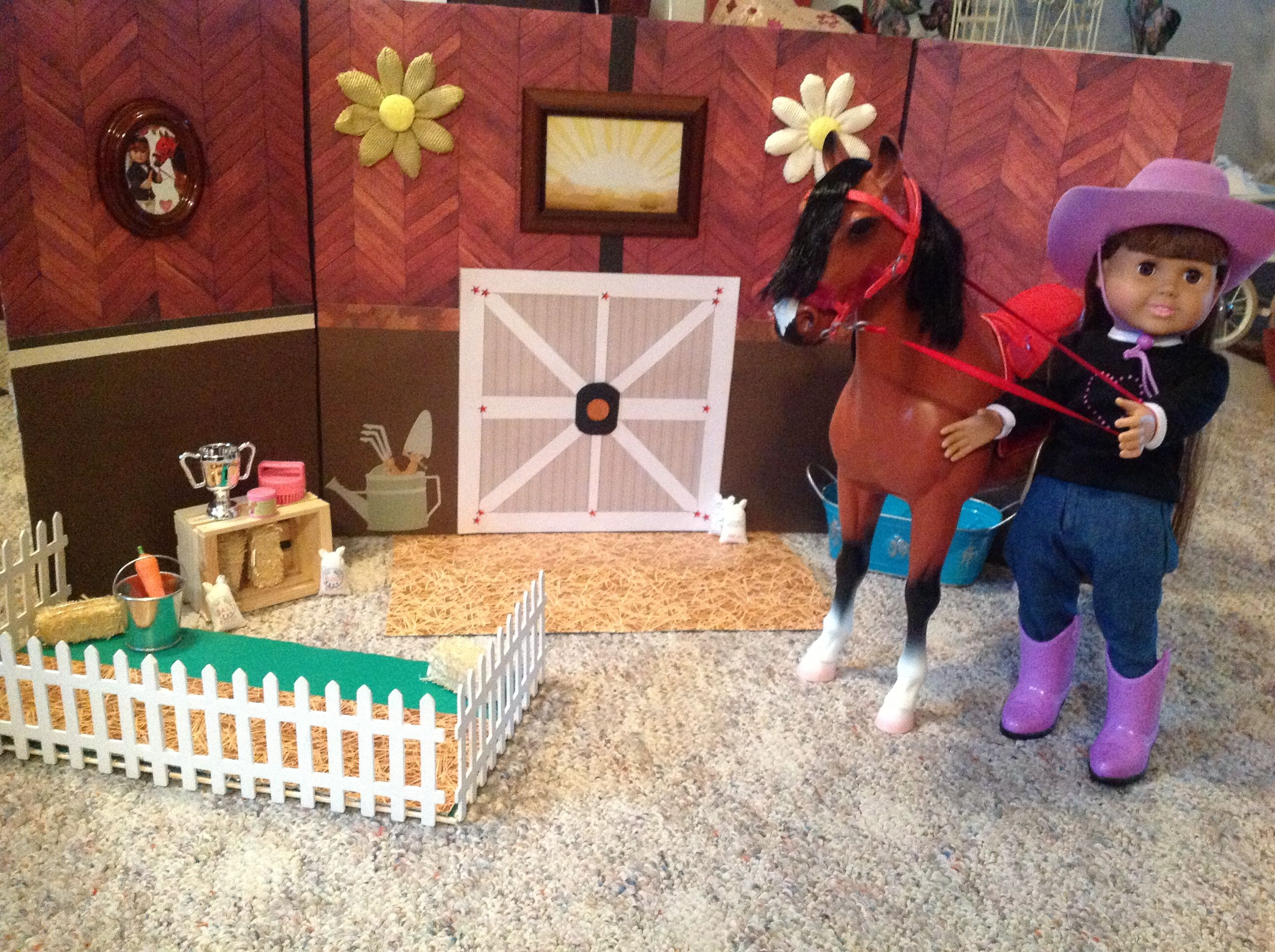 Scrapbook paper display - American Girl Doll Horse Made With 3 Fold Display Board Covered In Scrapbook Paper And Embellishments