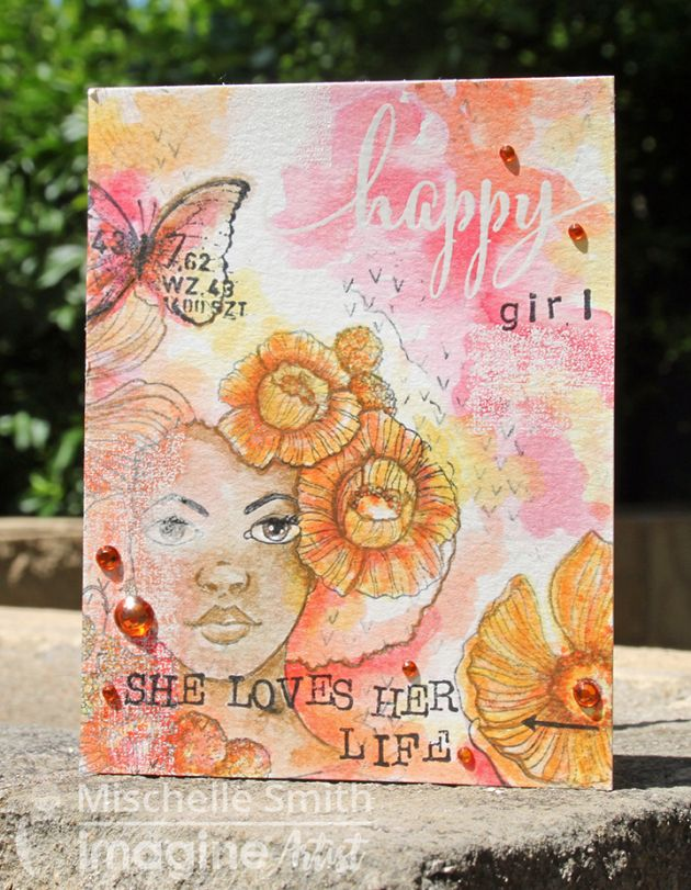 Make A Happy Girl Card Watercolored With Mementos Imagine Crafts
