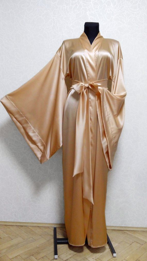 Long silk kimono robe, silk robe for women, womens satin