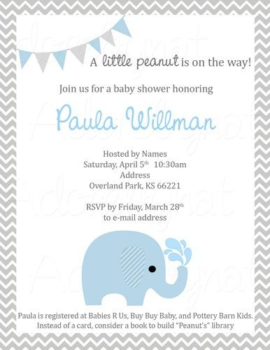 printable baby shower invitation - a little peanut is on the way,