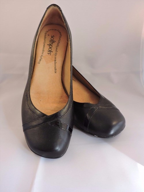 26.64$  Buy now - http://viegg.justgood.pw/vig/item.php?t=gdkrizw36511 - Softspots Paxton Shoes Slip On Black Wedge Heels Black Patent Leather Shoes 7.5M 26.64$
