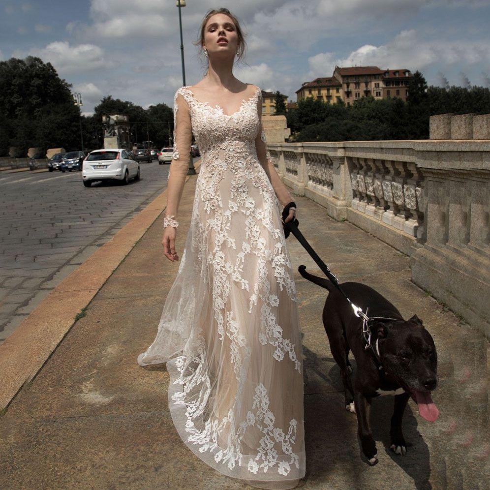 Sexy v neck boho wedding dresses backless lace beach wedding