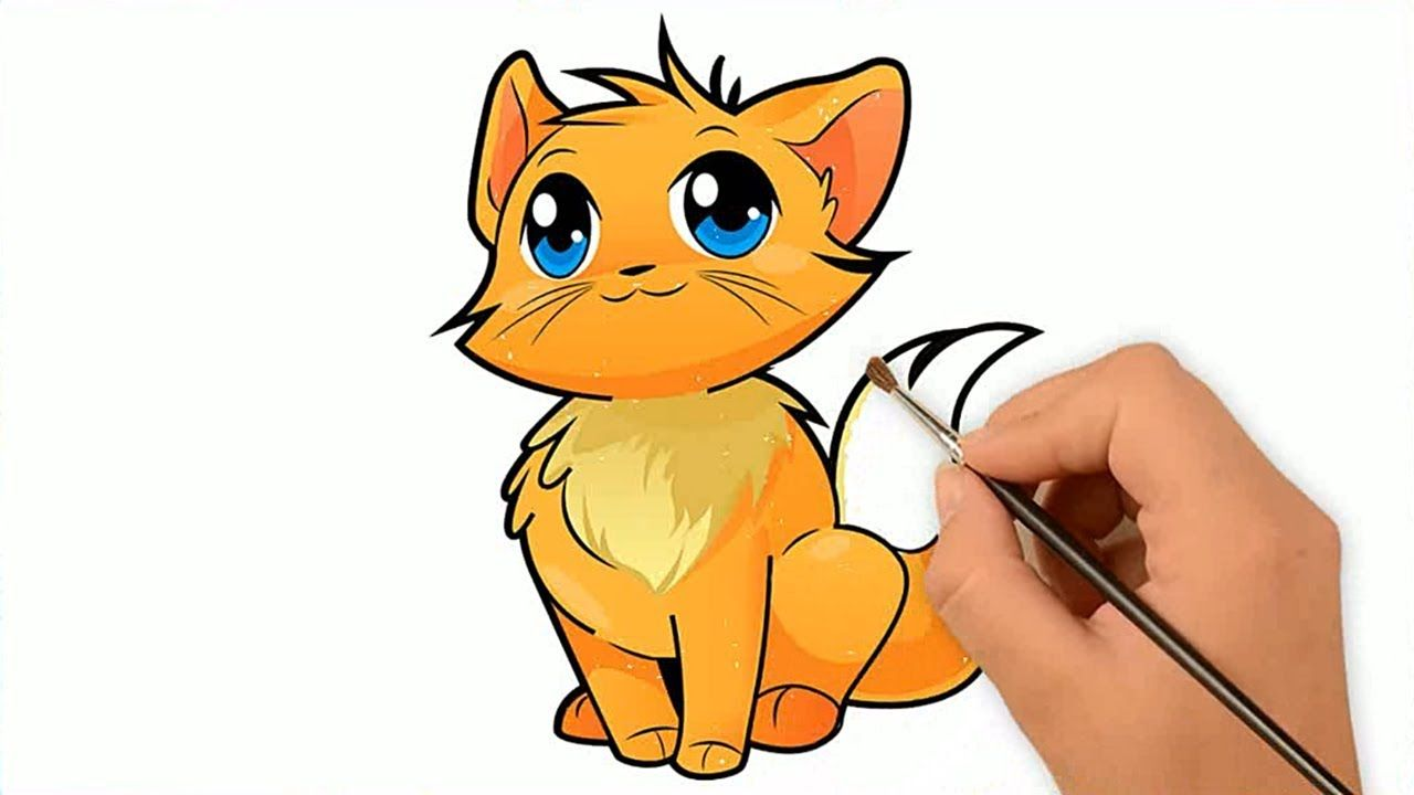 How To Draw A Cute Cat Easy Draw Colour For Kids With Images