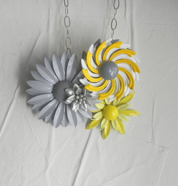 yellow Mustard Grey Vintage Brooch Collage by FiorellaJewelry