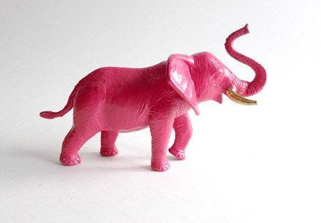 Pink Elephant Figurine With Gold Tusks Fuschia Hot Pink