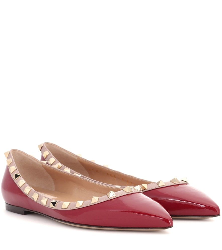 Valentino - Valentino Garavani Rockstud leather ballerinas - Opt for  timeless elegance with the miniature Rockstud