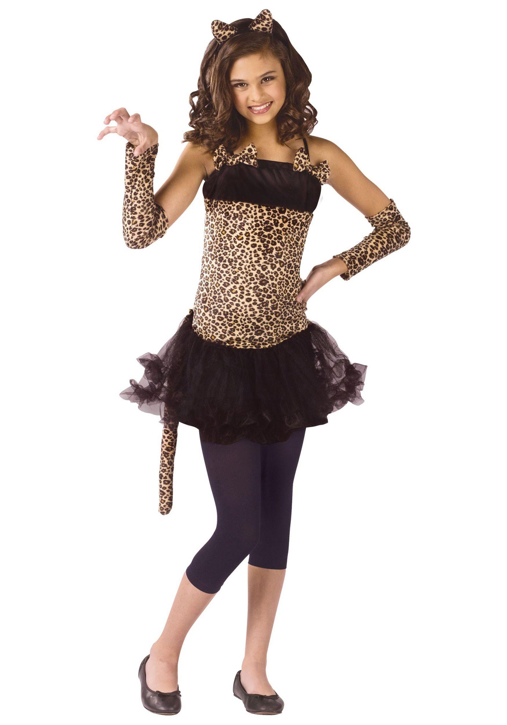 Girls Little Leopard Cat Catsuit Dress Halloween Child Costume Juniors C48129