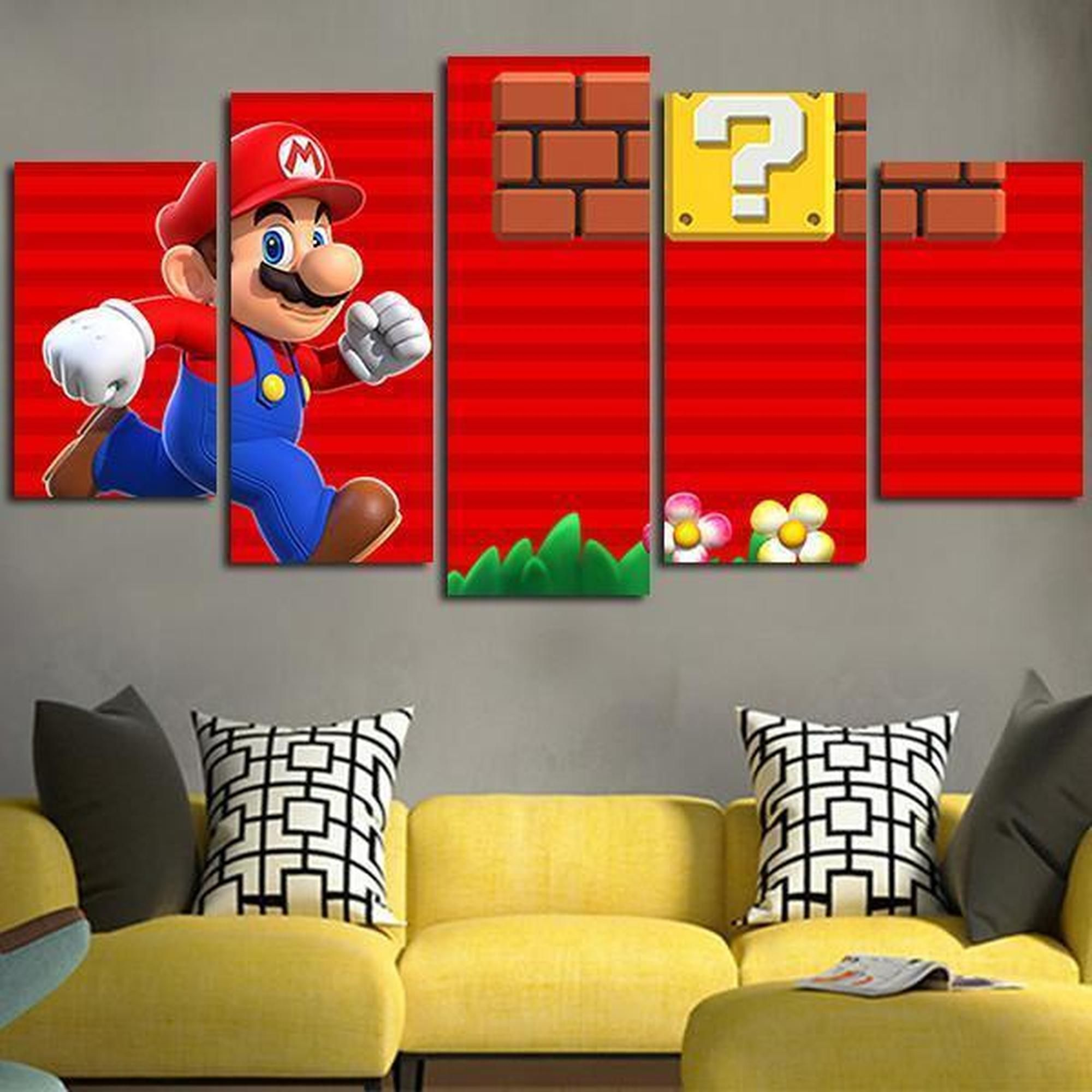 Super Mario Red Background Gaming Canvas Wall Art Customized Canvas Art Dragon Ball Art Anime Canvas