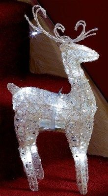 CHRISTMAS LIGHT UP Battery Operated Silver Sparkle LED REINDEER DEER DECORATION
