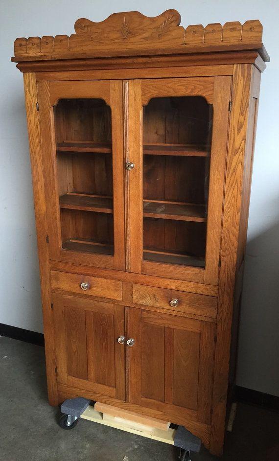 antique kitchen cabinet cupboard pie safe rear vented oak wavy antique kitchen cabinets on kitchen hutch id=71735