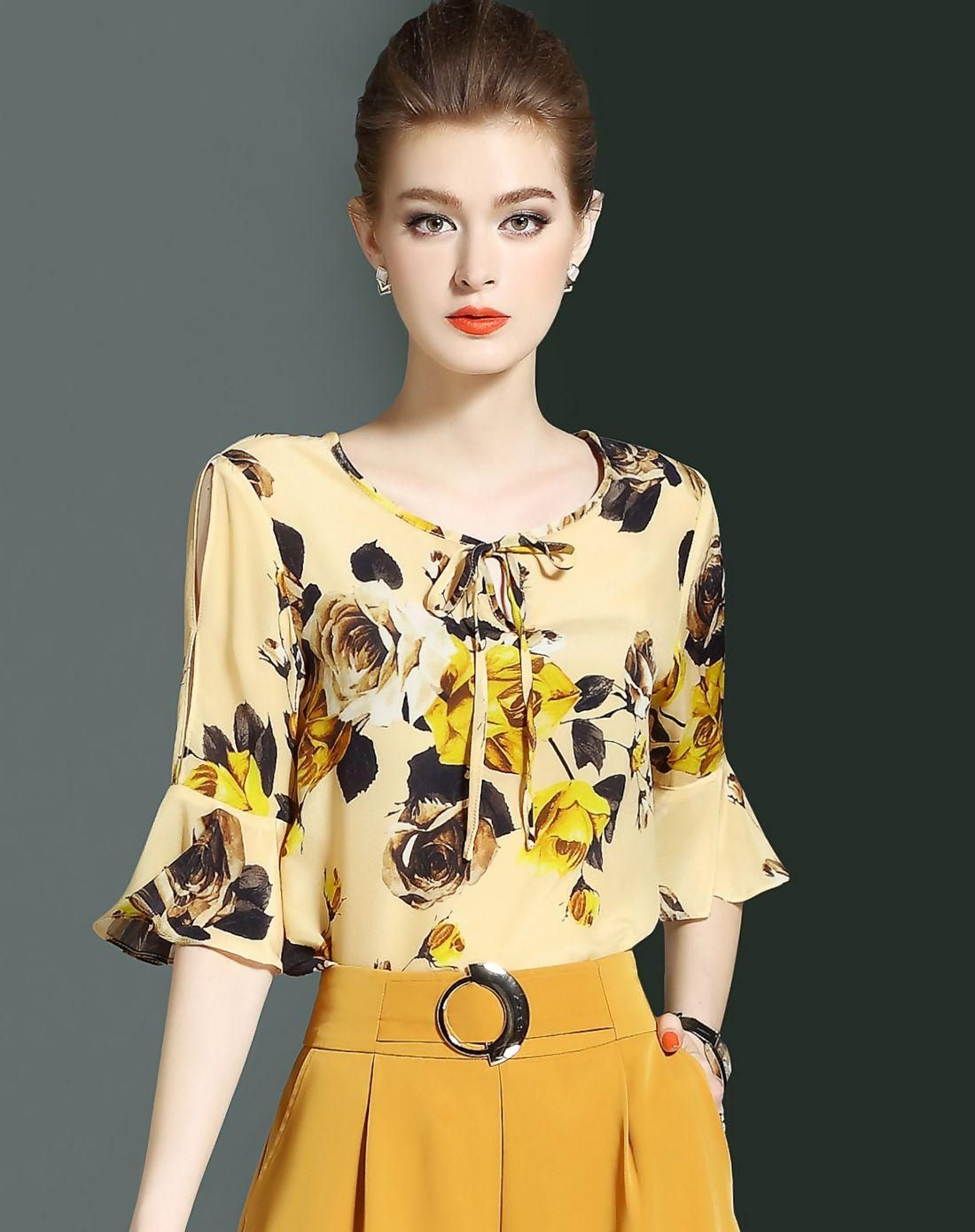 af24aa9f29 VIPme (VIPSHOP Global) - LONYUASH Light Yellow Silk Floral Bell Half Sleeve  Top - AdoreWe.com
