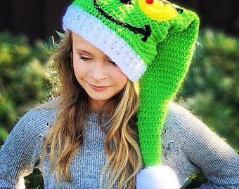 CROCHET PATTERN - Striped Elf Hat - Holiday Hat Pattern - Christmas hat - Santa Hat - Holly Elf Hat - 7 Sizes - Adult - Child - Ava Girl Pat #grinchscarfcrochetpatternfree