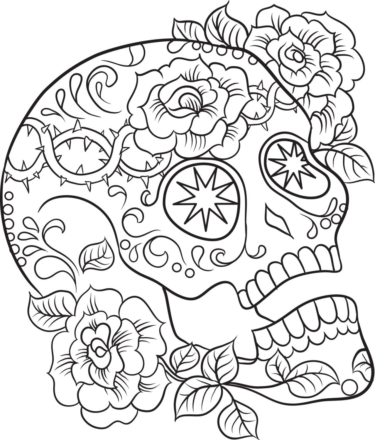 Color Me Sugar Skulls, Coloring Ebook, Print Out and Color ...