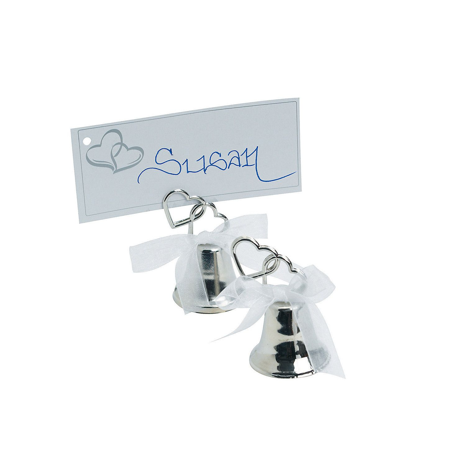 Silvertone Wedding Two Hearts Bell Place Card Holders
