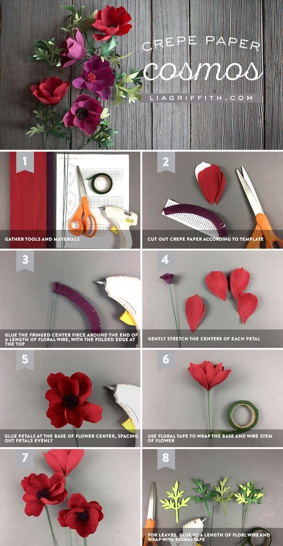 Crepe Paper Cosmos Paper Flowers Paper Flowers Paper Flowers
