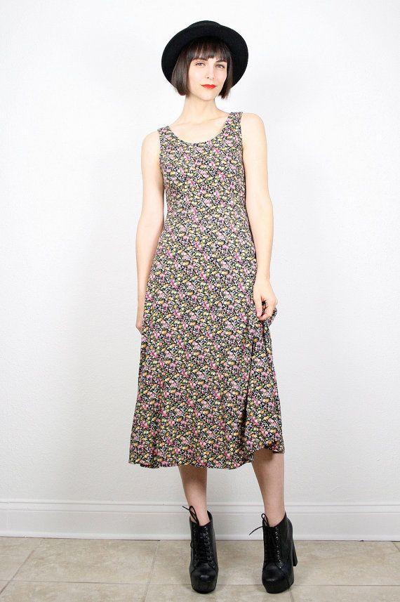 vintage grunge dress 90s dress 1990s dress midi dress maxi