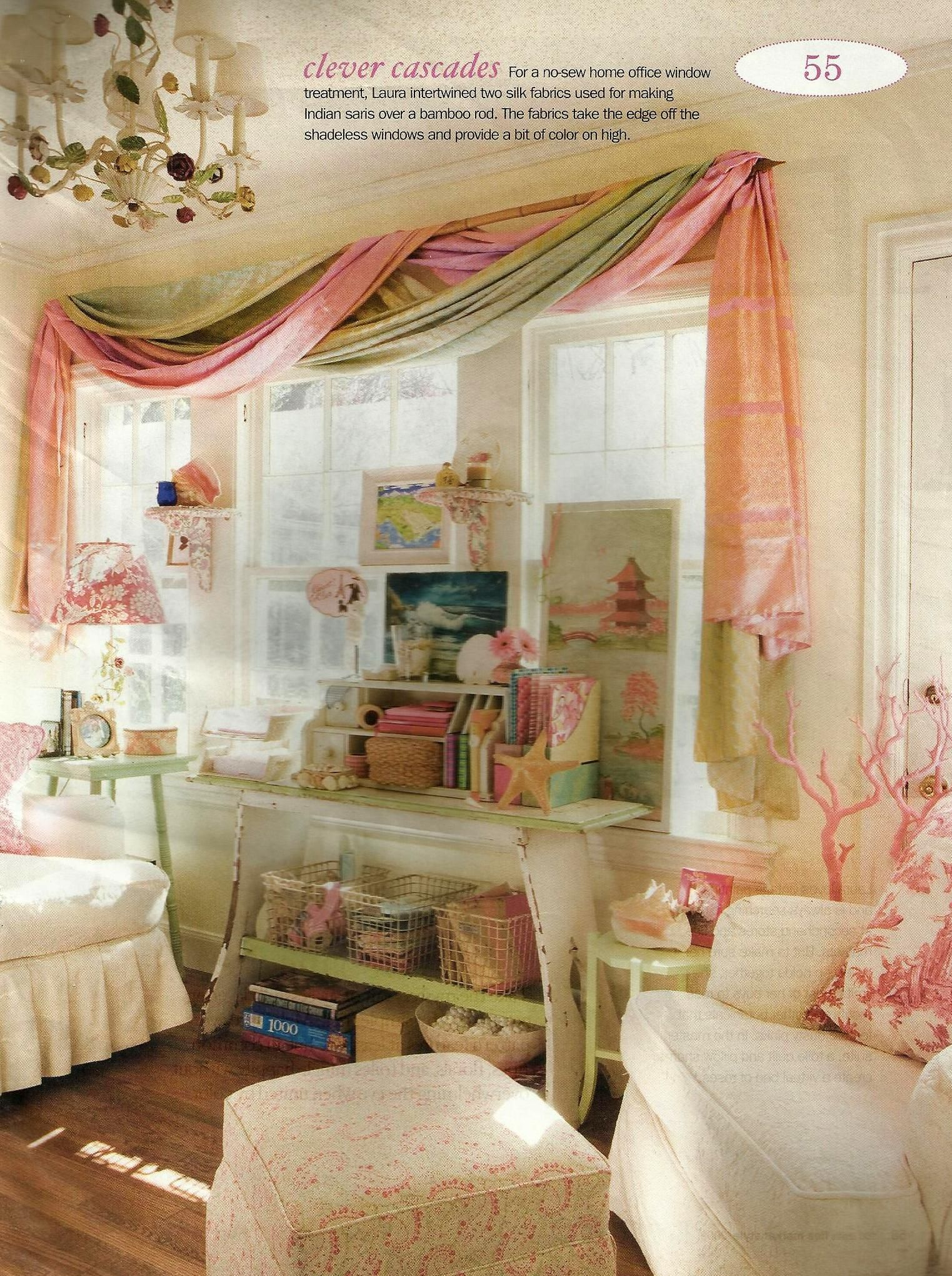 No curtain window ideas  draped curtains  love the hint of vintage no sewing required
