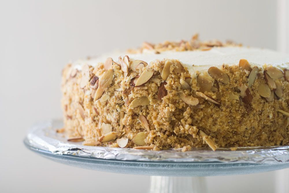 Burnt almond torte cake via with