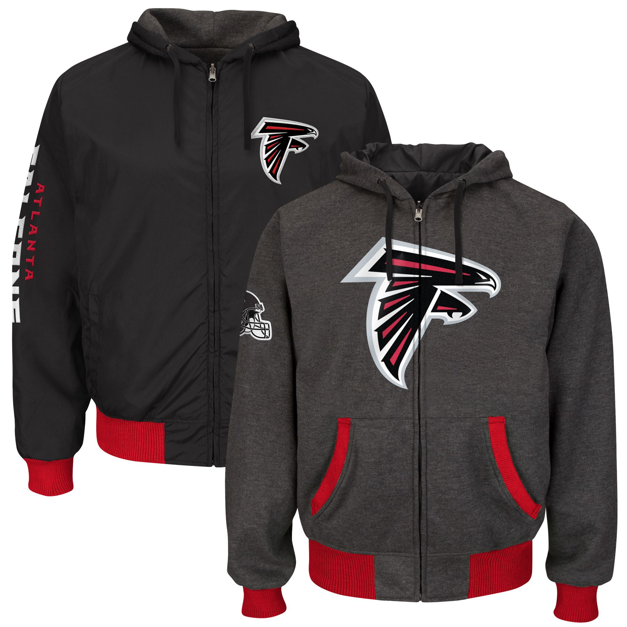 Nfl Atlanta Falcons Strike Reversible Full Zip Hoodie Heathered Gray Hoodies New York Jets Jacksonville Jaguars