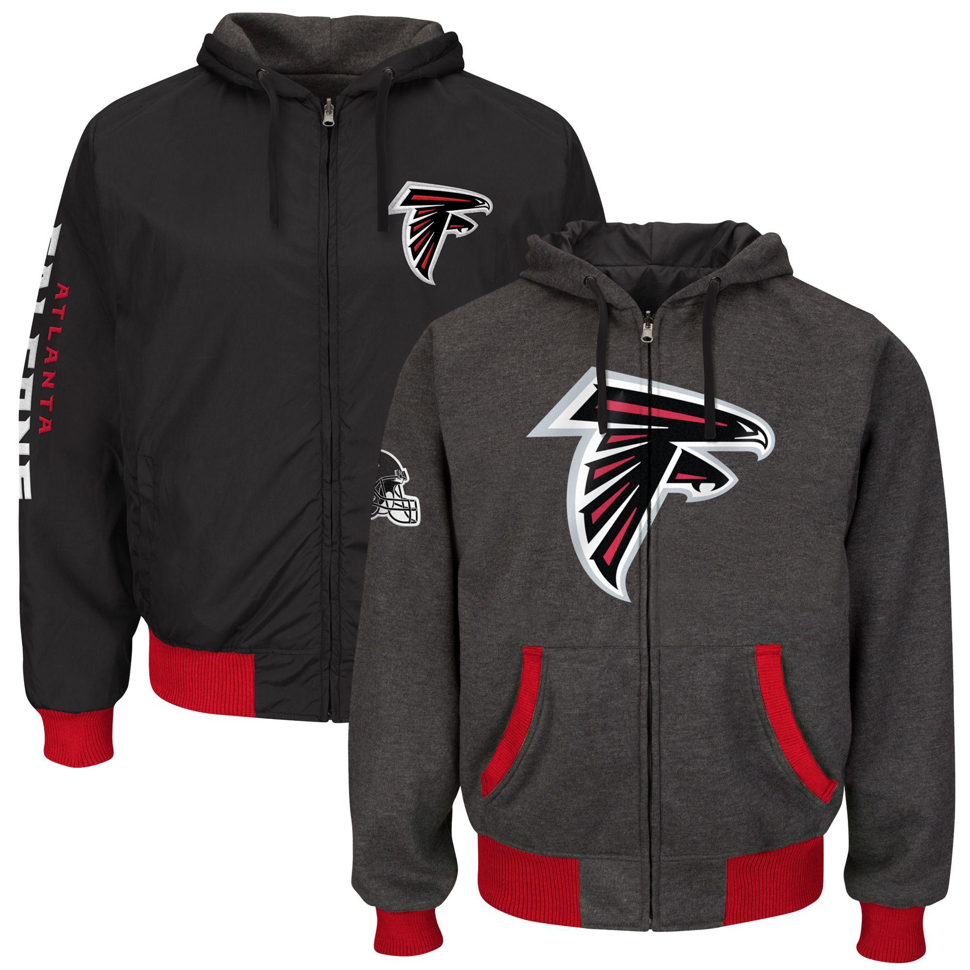 Nfl Atlanta Falcons Strike Reversible Full Zip Hoodie Heathered Gray Hoodies New York Jets Jacksonville Jaguars