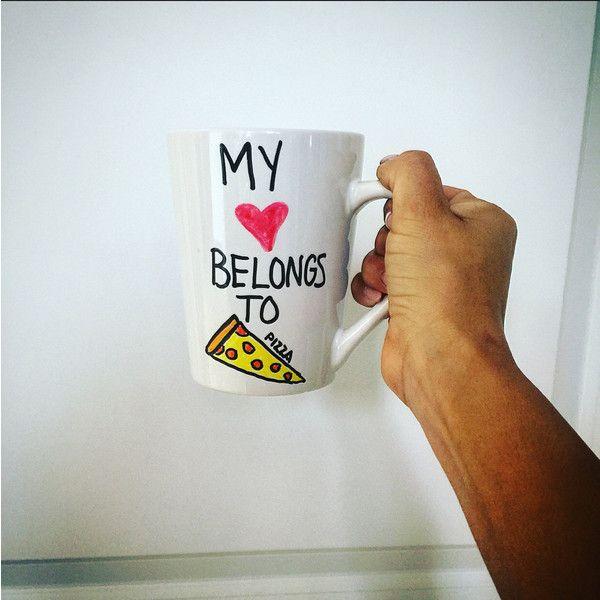 My Heart Belongs to Pizza Mug Pizza Mug Pizza Lover ($22) ❤ liked on Polyvore featuring home, kitchen & dining, drinkware, drink & barware, home & living, mugs, silver, heart shaped mug, handmade mugs and silver mug