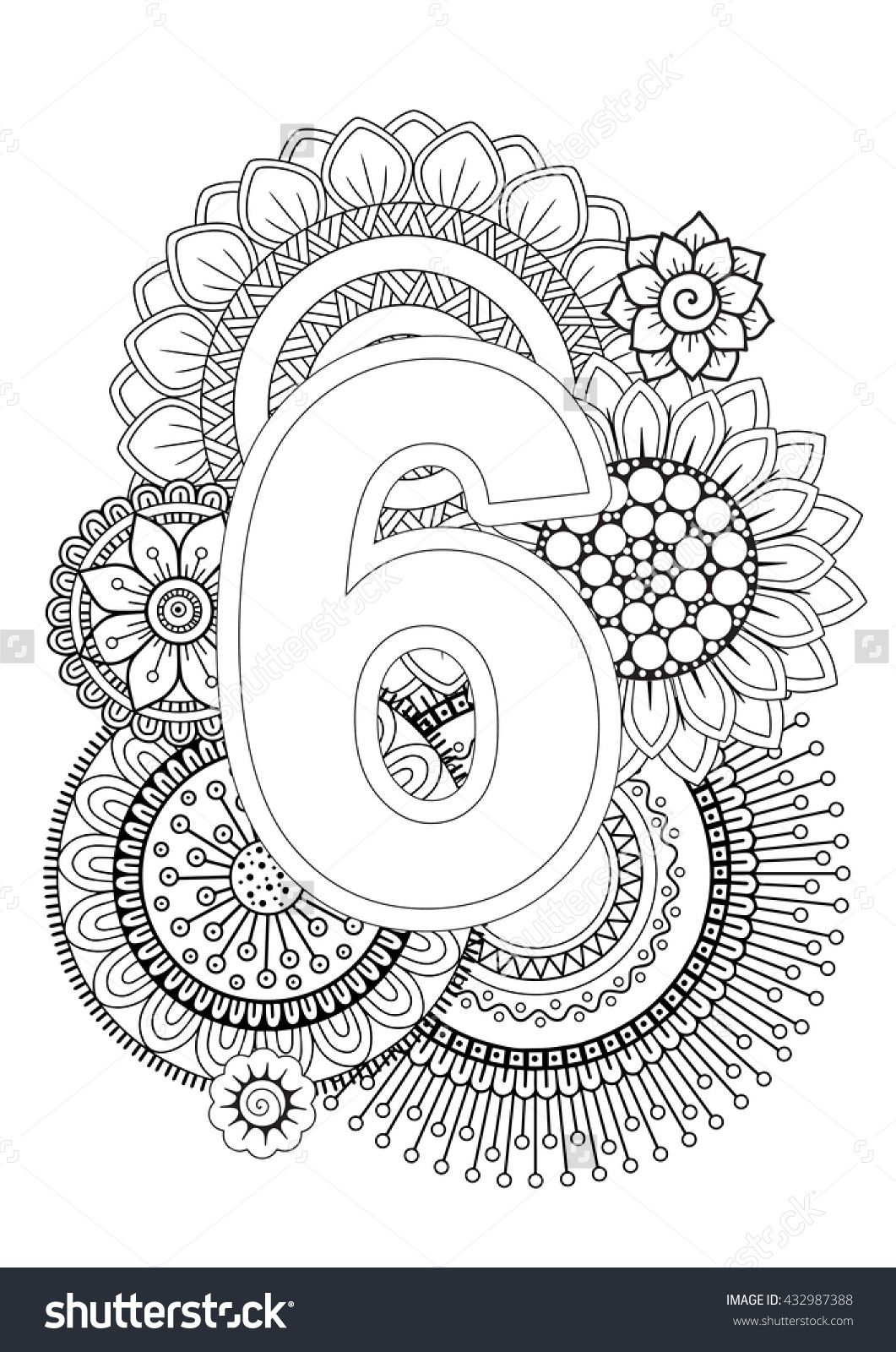 Doodle Floral Letters. Coloring Book For Adult. Mandala and ...