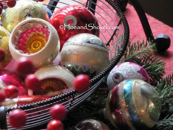 Hoe and Shovel: Vintage Christmas ornaments.