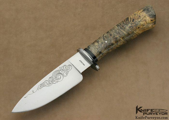 Dana Hackney Custom Knife Buckeye Burl Large Fixed Blade Engraved by Jerry Potts