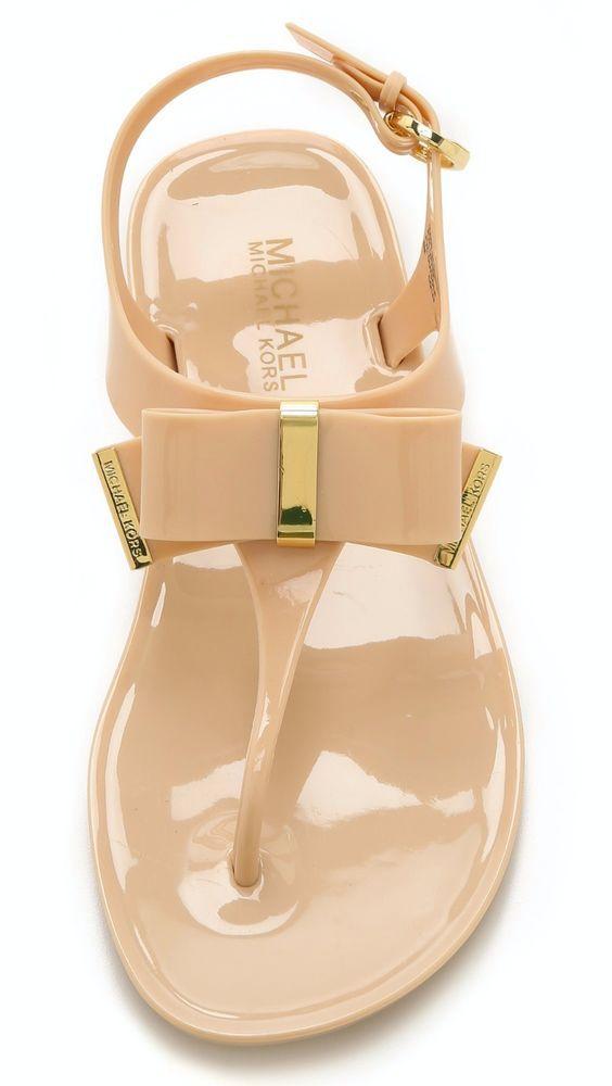 de24fca9f344 New Michael Kors Kayden Jelly Thong Sandals Nude Beige Size 8M  MichaelKors   TStrap