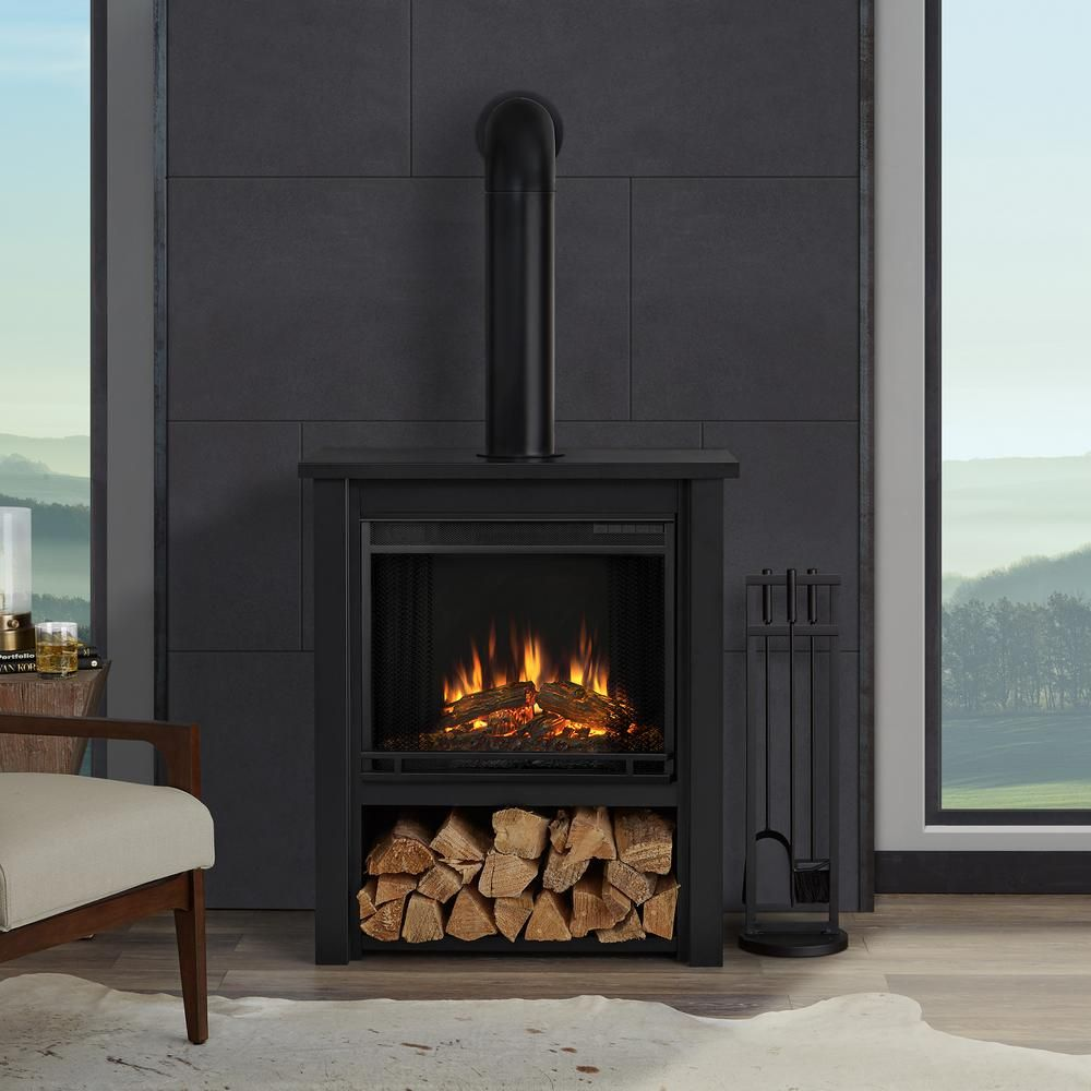 Real Flame Hollis 32 In Freestanding Electric Fireplace In Black 5005e Blk The Home Depot Indoor Electric Fireplace Electric Fireplace Portable Fireplace