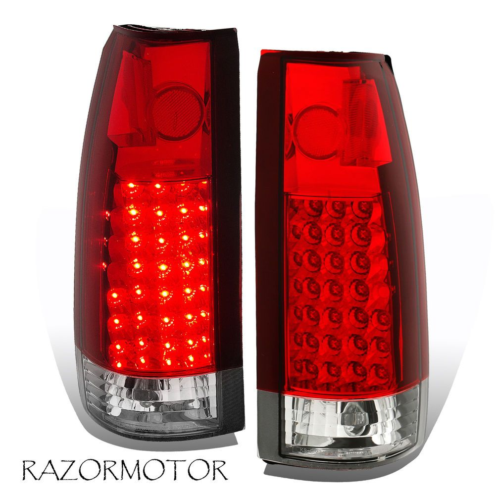 1988 1999 Red Clear Led Tail Light Pair Chevy Gmc C K Silverado Tahoe Sierra Tail Light Silverado