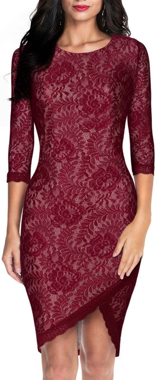 84db37cb8a Miusol® Women s Elegant Floral Lace 2-3 Sleeve Slim Evening Dress ...